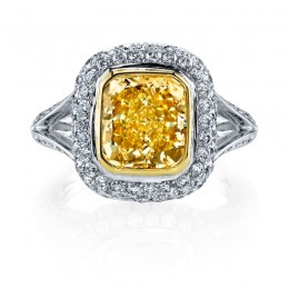 Fancy Yellow Split Shank Diamond Engagement Ring
