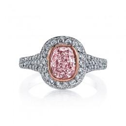 Cushion Cut Pink Diamond Halo Engagement Ring
