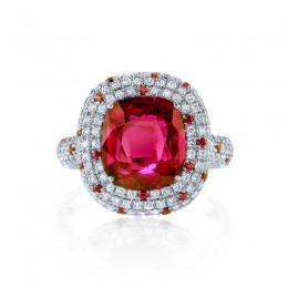 Cushion Cut Ruby and Diamond Halo Ring